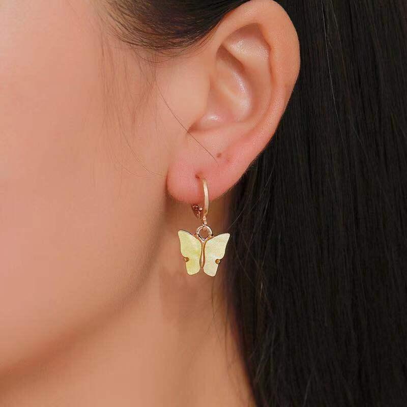 韩版新品耳环时尚彩色亚克力蝴蝶耳环耳坠小清新甜美多彩耳扣耳饰-