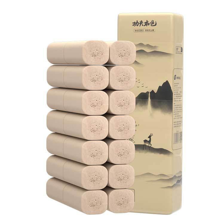植护无芯卷纸14卷/提厕纸4层加厚卫生纸批发家用本色纸巾一件代发-
