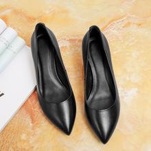 工作鞋女黑色真皮高跟鞋细跟 空姐职业OL浅口尖头粗跟单鞋