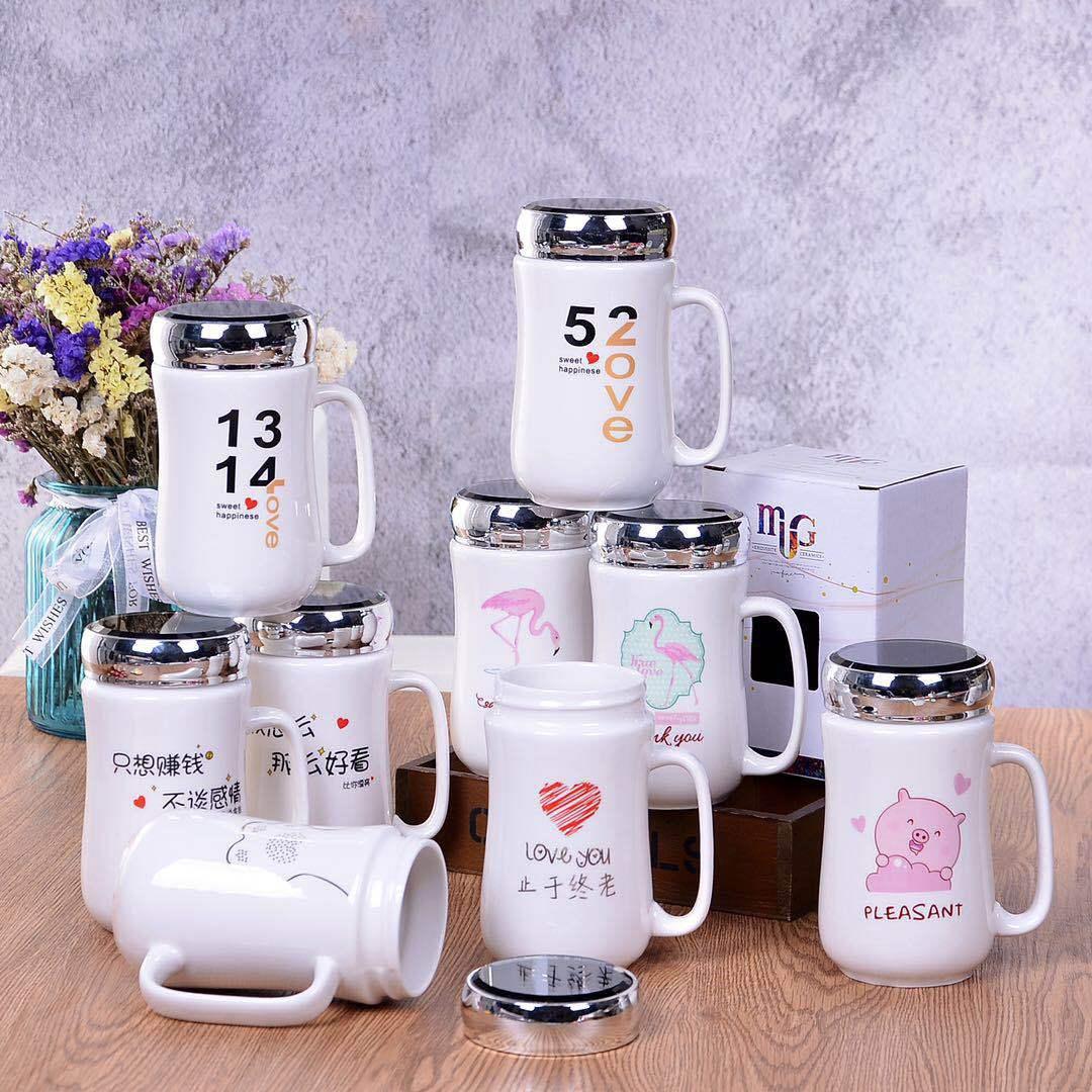 水杯 创意实用时尚十元店日用办公杯带盖马克杯定制logo 陶瓷杯