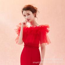 新娘春夏蕾絲披肩大碼一字伴娘演出套頭結婚紗禮服薄款斗篷紅色