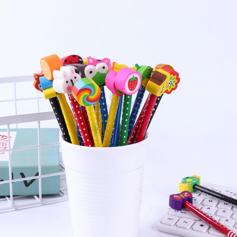 创意?#26408;?#20799;童卡通橡皮头原木铅笔小学生绘画铅笔定制幼儿园小奖品