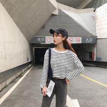 2019春秋装新款韩版条纹高腰短款长袖T恤女宽松休闲运动衫上衣潮