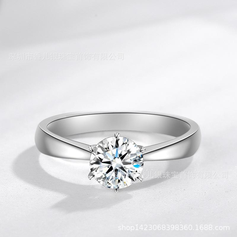 JZ348 1克拉经典皇冠六爪仿真钻石戒指 50分仿进口莫桑石婚戒