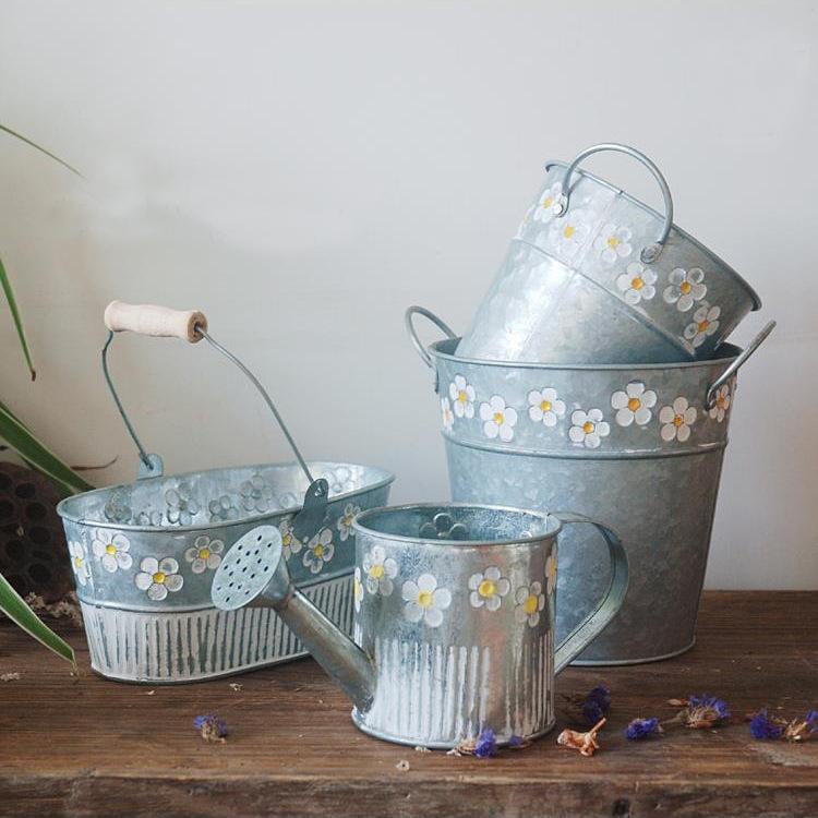 跨境款 干花花器花桶鲜花插花筒阳台花盆铁皮桶复古做旧铁艺挂桶