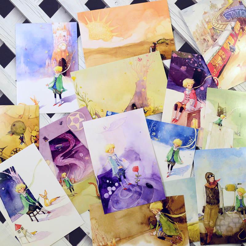 小王子手绘风格水彩插画经典故事明信片贺卡卡片15枚 15x10cm-