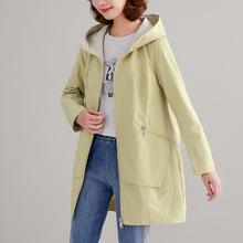 外套女中长款2019春装新款宽松大码连帽前短后长中年显瘦韩版上衣