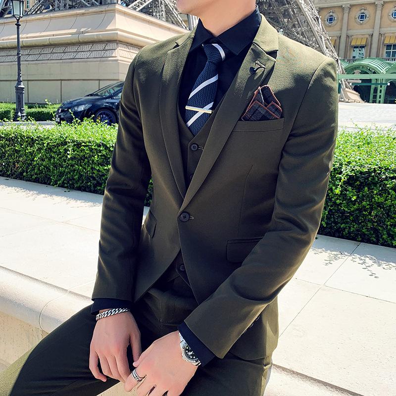 厂家供应 韩版新款男式西装商务休闲新郎伴郎礼服三件套白色西服