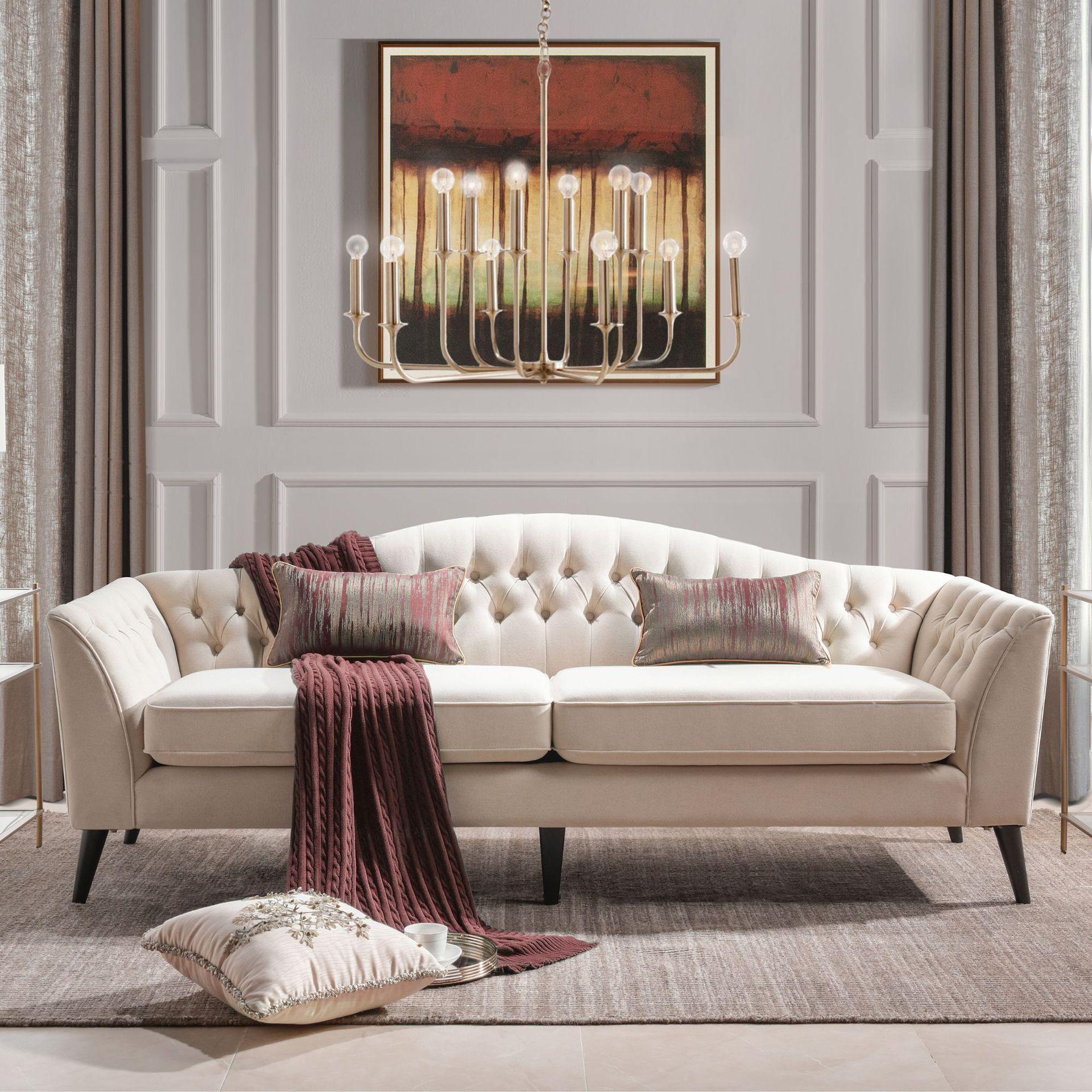2019新款布艺沙发高弹海绵三人沙发经典美式 沙发酒店样板间定制
