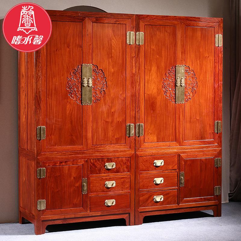 刺猬紫檀缅甸花梨容与衣柜储物柜定做 红木家具卧室中式四门衣柜