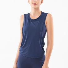 網紅ins新款瑜伽服女式純色運動T恤無袖速干跑步背心健身上衣代發
