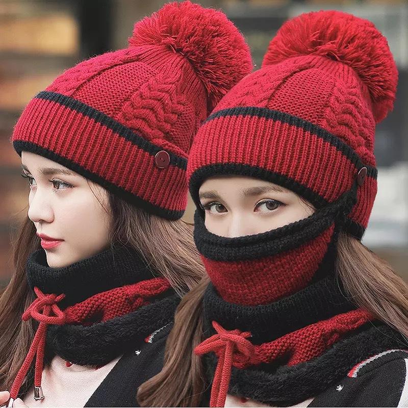 帽子围巾口罩三件套女秋冬季韩版保暖毛线针织帽加绒加厚骑车护耳