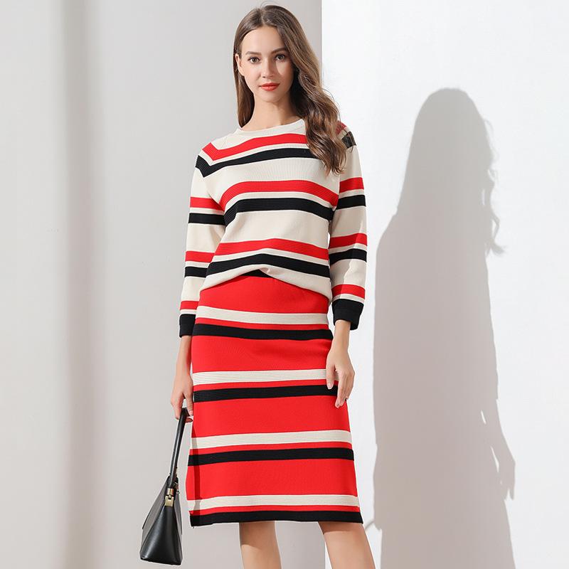套装连衣裙2019秋冬新款小香风条纹明星同款针织衫两件套一件代发