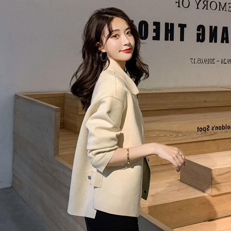 百搭外套女春秋季2019年新款韩版麂皮绒风衣短款小个子宽松夹克潮