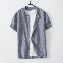 日系棒球领短袖亚麻男士休闲衬衫立领棉麻衬衣
