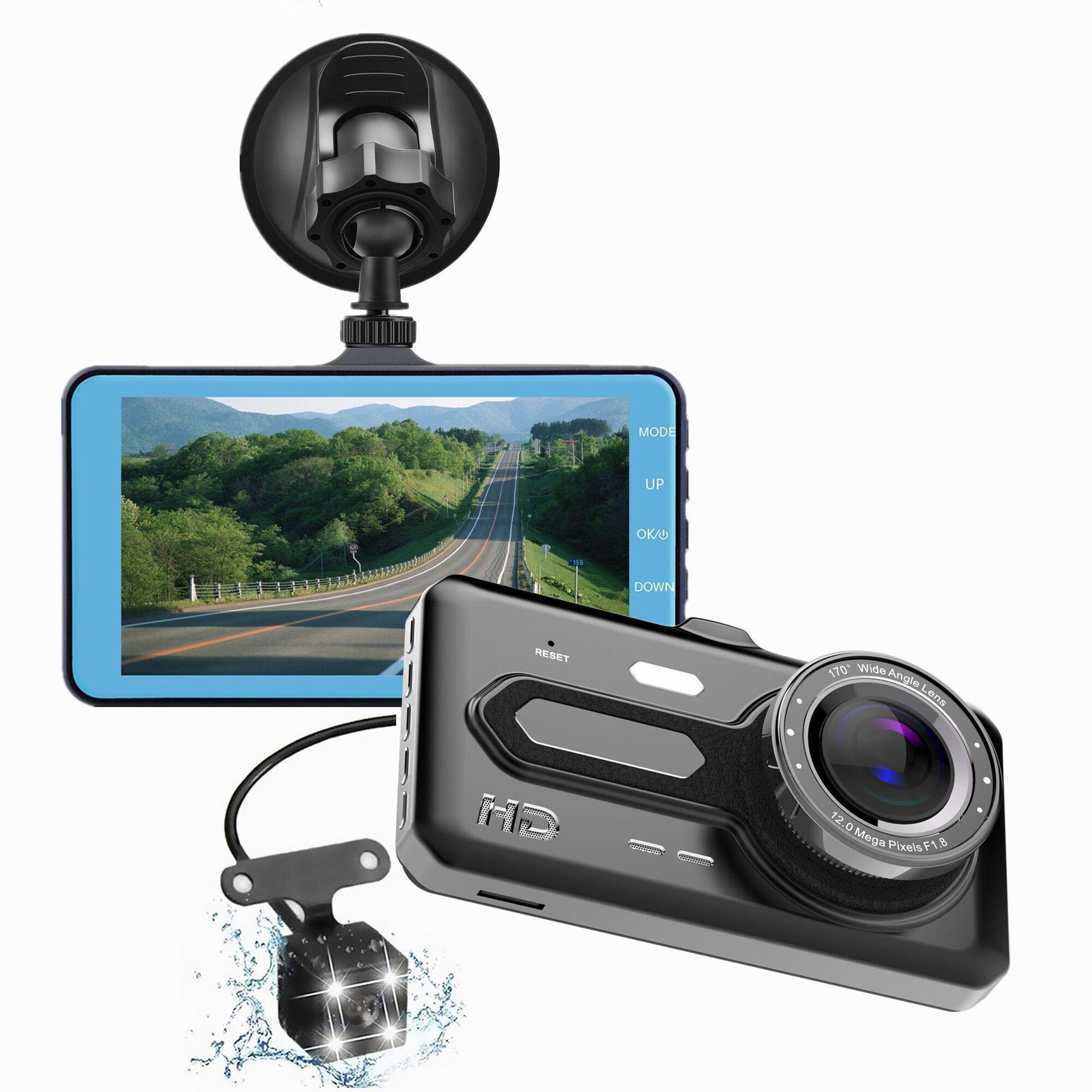 4寸高清触摸屏行车记录仪 前后双镜头夜视汽车相机锌合金记录仪