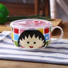 陶瓷碗套装可微波炉加热专用可爱带盖保鲜盒家用泡面碗学生碗筷