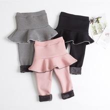 女童假两件裙裤加绒儿童纯棉外穿裤裙加厚宝宝时尚百搭保暖半身裙