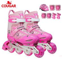 美洲狮工厂直销儿童全套装前轮闪光可调直排轮滑鞋鞋?#20449;? class=