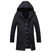中年棉衣男爸爸冬装外套冬季新款连帽中长款棉袄男士棉服一件代发