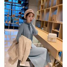 针织连衣裙女冬季2019新款韩版简约纯色宽松套头高领毛衣裙