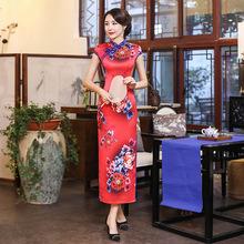 2019春季新款复古优雅改良长款旗袍 中国风女装唐装大码真丝旗袍