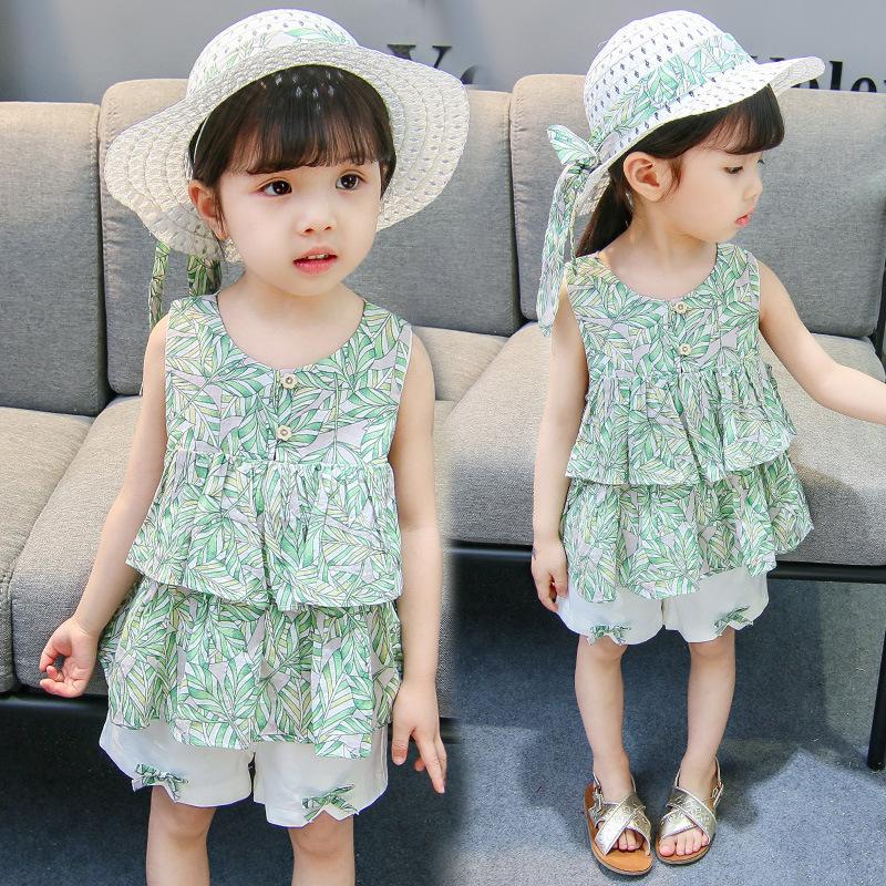 經典款韓版童套裝女童夏裝中小童兒童綠葉短褲兩件套童裝代理加盟