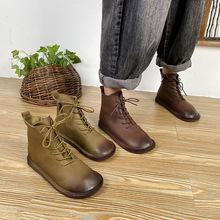 (按照庫存賣)純色馬丁靴 秋季高幫圓頭低跟馬丁靴時尚女鞋系帶