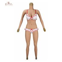 藝容六肛變裝偽娘九分帶臂E杯連體衣假胸假陰義乳CD變裝 一件代發