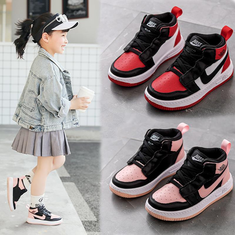 AJ1童鞋秋季儿童运动鞋女童板鞋高帮男童篮球鞋中大童街舞鞋韩版-
