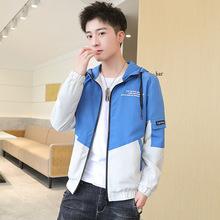 男士夾克拼色外套秋季2021新款韓版潮流工裝春男裝休閑連帽夾克衫