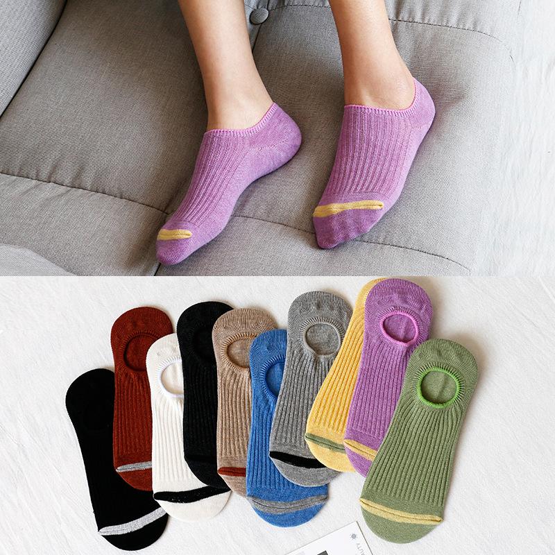 春夏纯色竖条隐形袜子防滑薄款浅口抽条全棉袜韩国船袜子厂家批发-