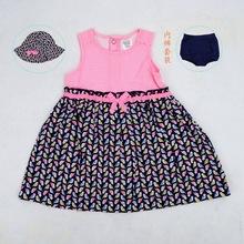 外贸原单卡特女童短袖裙套装 女婴幼儿童宝宝条纹小鸟帽子连衣裙
