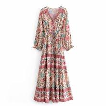 跨境貨源速賣通波西米亞印花人棉系帶V領連衣裙大長裙