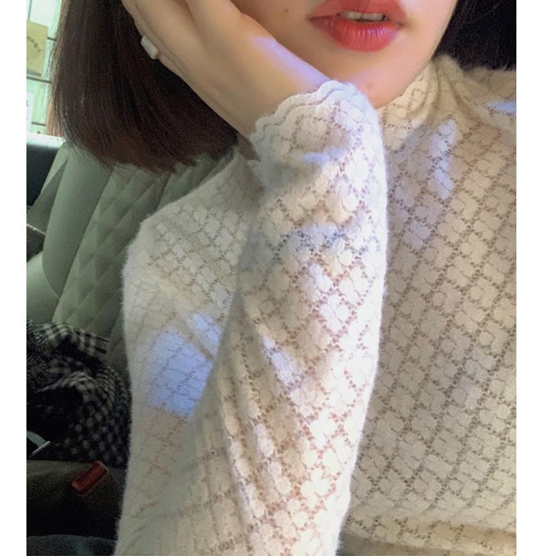 軟糯小絨毛半高領內搭白色蕾絲打底衫上衣女2020秋冬潮可代理代發