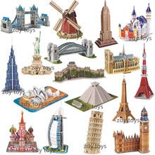 跨境3d立體拼圖世界名建筑模型拼圖 兒童diy拼裝拼插玩具