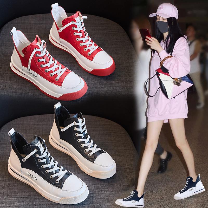 高帮鞋女2020夏季新款薄款透气平底小白鞋网红百搭休闲运动板鞋潮-