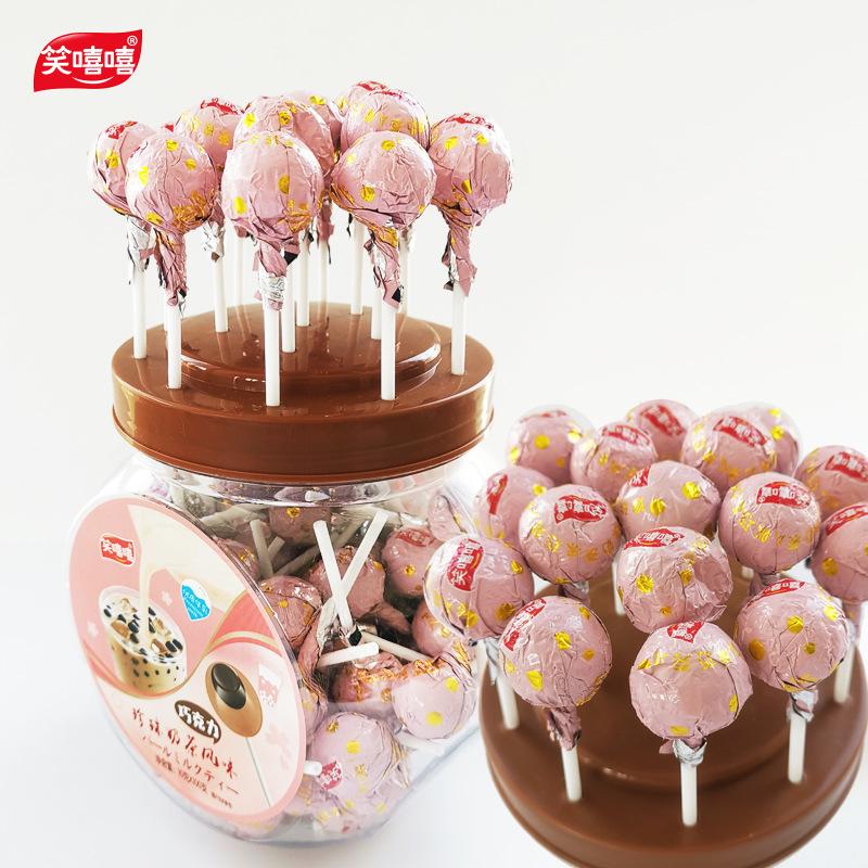 OEM定制创意糖果100支装儿童休闲零食品桶装珍珠奶茶巧克力棒棒糖