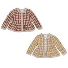 konges slojd秋冬女童菱格毛衣開衫中小兒童針織娃娃衫in童裝外套