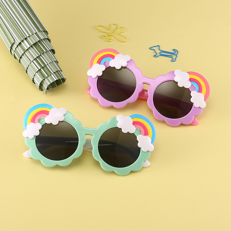 新款糖果色圆框太阳眼镜 儿童创意彩虹造型太阳镜男女童偏光墨镜-
