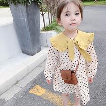 女童秋裝長袖連衣裙2019新款兒童韓版翻領波點公主裙寶寶洋氣裙子