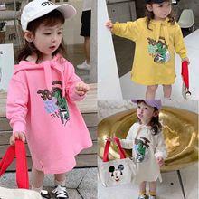 兒童連帽衛衣裙秋款卡通印花連衣裙童裙3-8歲童裝一件代發
