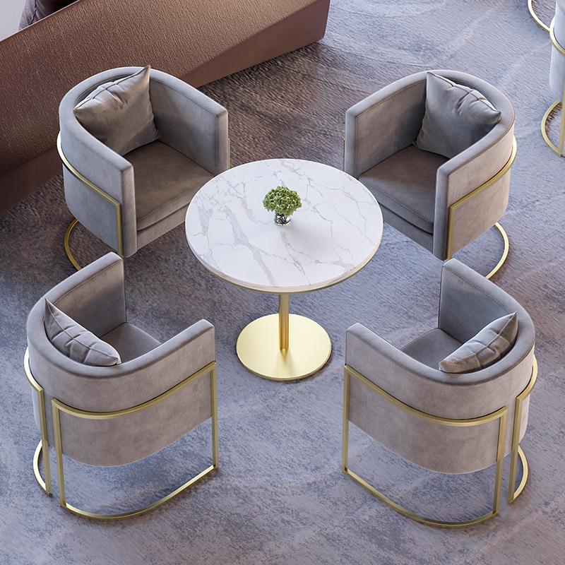 北欧美容院办公沙发休闲奶茶店会客售楼处接待洽谈桌椅组合小圆桌-