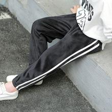 冬款90-150雙面絨保暖運動褲男女童寶寶金絲絨單褲