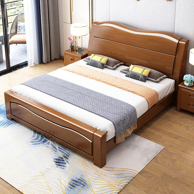 实木床单人床实木家具卧室1.21.81.5米橡木儿童床白色中式双人床-