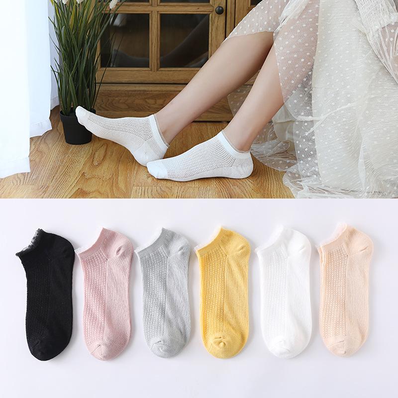 春夏新款袜子女 日系透气网眼女士船袜 玻璃丝花边女士浅口短棉袜-