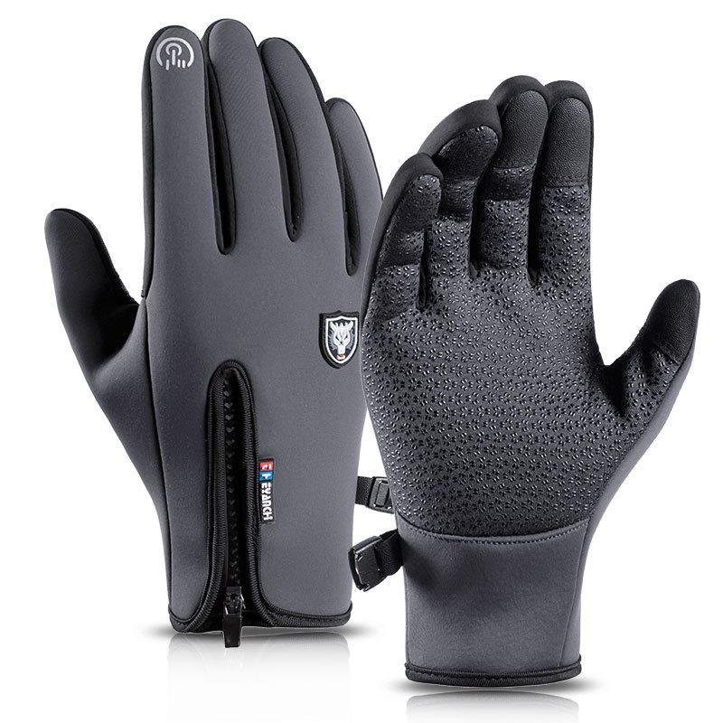 骑行手套男Q908-2户外防风防水触屏女运动冬季保暖抓绒滑雪批发-
