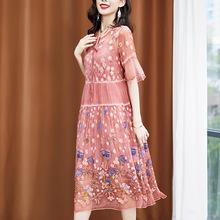 刺繡真絲兩件套中長連衣裙女2020夏季新款氣質寬松媽媽桑蠶絲裙子
