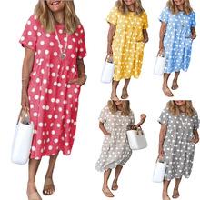 2020亞馬遜夏季新款爆版性感波點印花口袋寬松短袖長裙連衣裙現貨