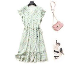 2020夏季ebay亞馬遜優雅氣質女裝真絲V領連衣裙代理加盟MJ2113